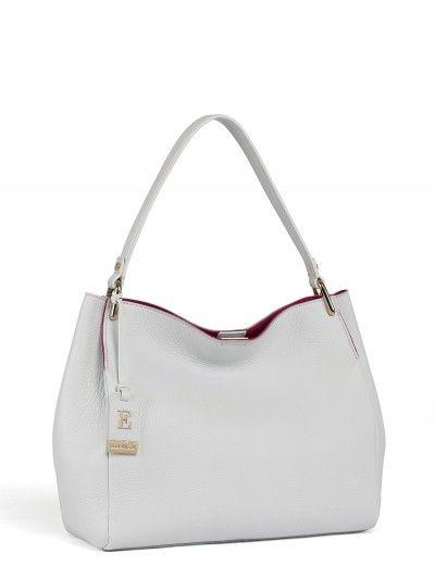 Белая кожаная сумка Eleganzza