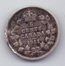 5 центов 1911 г. редкий год. Канада (Великобритания)