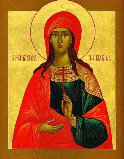 Христина Тирская (рукописная икона)