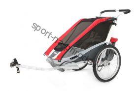 Коляска Thule Chariot Cougar1/Кугар1, в комплекте с велосцепкой, красный, 14-