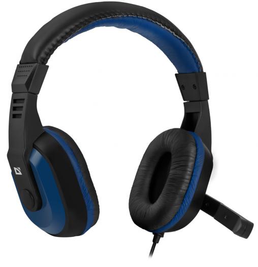 Мониторные наушники с микрофоном Игровая гарнитура Defender Warhead G-190 синий + черный, кабель 2,5 м
