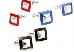 Запонки с лаковым покрытием под серебро, модель 21