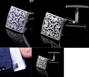 Запонки под серебро, с матовым покрытием и рисунком, модель 23