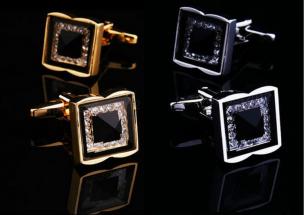 Запонки горный хрусталь под золото и серебро, модель 26