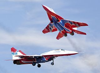 "Postcard MiG-29. Aerobatic team ""Strizhi"""