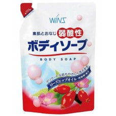 Смягчающее крем-мыло для тела с коллагеном и лауриновой кислотой и экстрактом шиповника Wins Mild Acidity Body Soup 400 мл мягкая упаковка