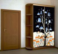 Наклейка на шкаф -  КотоВасия, днем и ночью