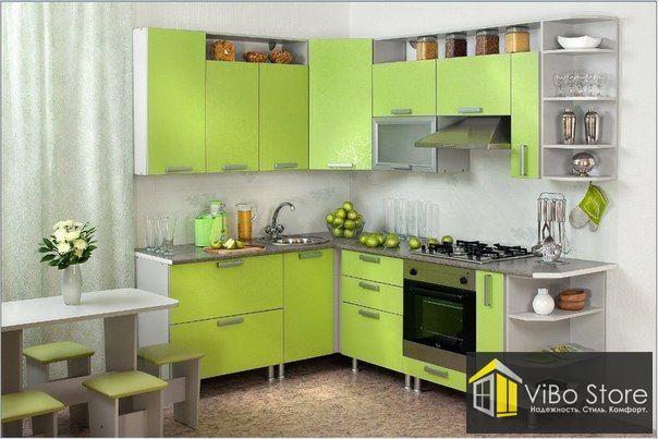Салатовая, современная кухня