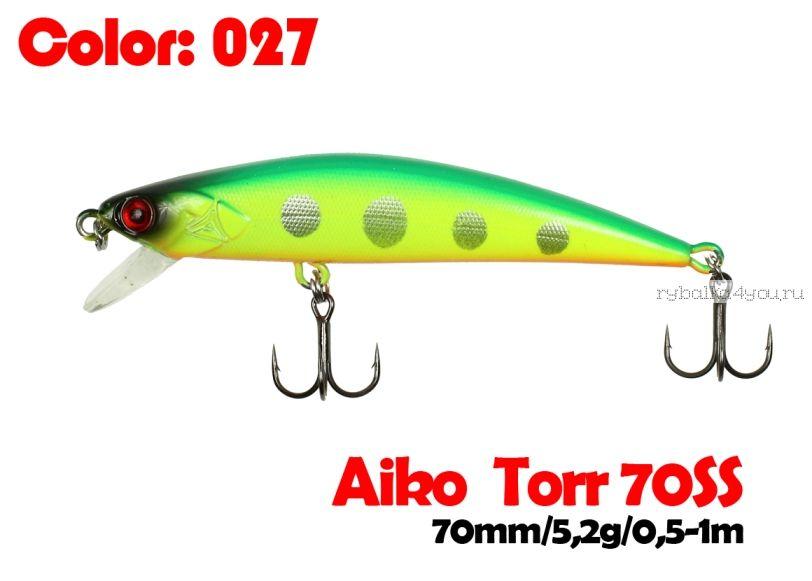 Воблер  Aiko TORR 70SS  70 мм/ 5,6 гр / 0,5-1 м / цвет - 027