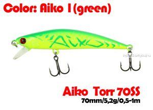 Воблер  Aiko TORR 70SS  70 мм/ 5,6 гр / 0,5-1 м / цвет - AIKOgreen