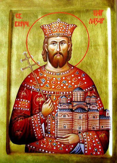 Лазарь Сербский (рукописная икона)