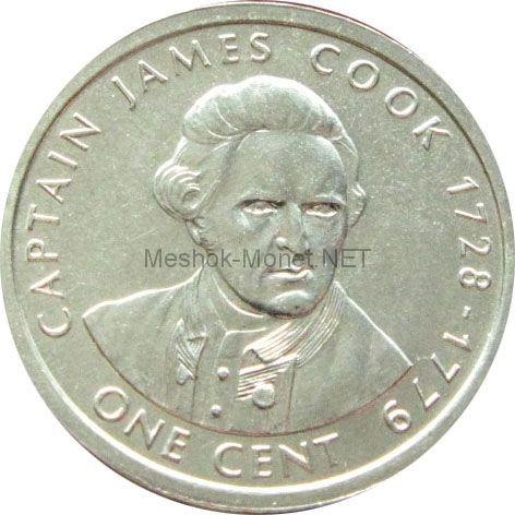Острова Кука 1 цент 2003 г. Капитан Джеймс Кук