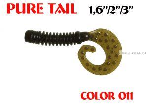 """Твистеры Aiko  Pure tail 1.6"""" 40 мм / 0,57 гр / запах рыбы / цвет - 011 (упаковка 12 шт)"""