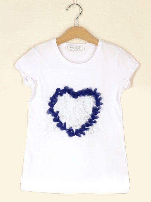 Белая подростковая футболка Синее сердце