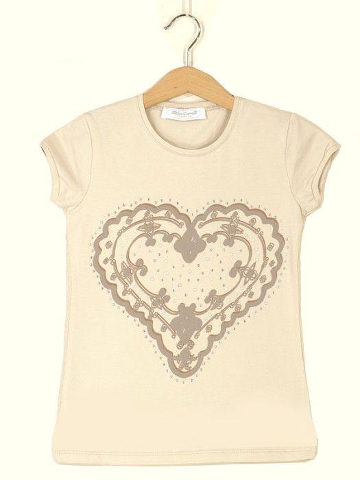 Бежевая подростковая футболка для девочки