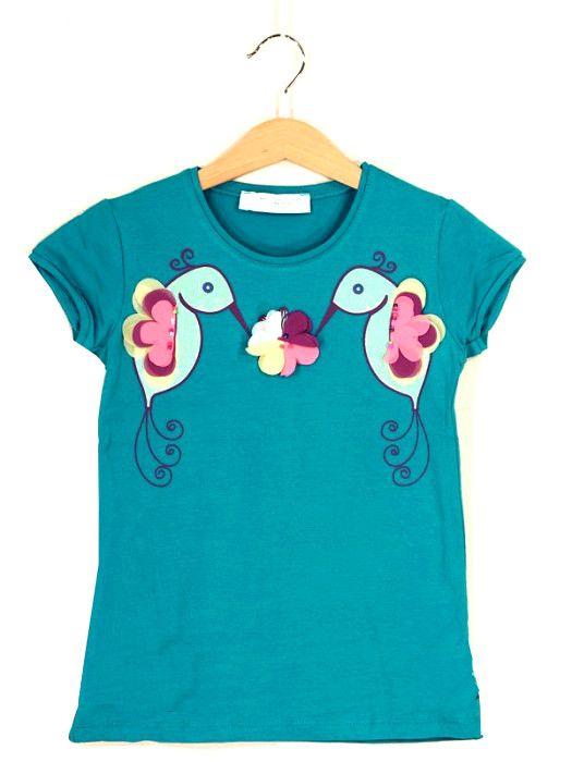 Бирюзовая футболка для девочки Райские птички