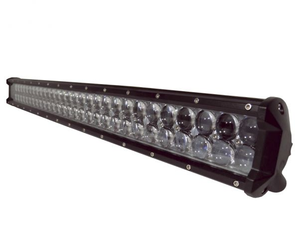 Двухрядная светодиодная LED фара с 4D линзой - 198W CREE дальний свет