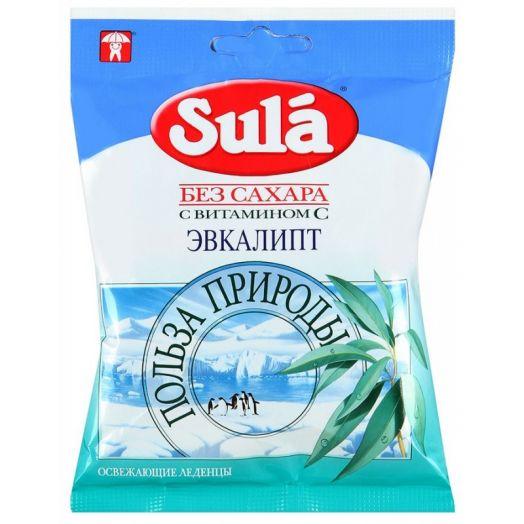 """Леденцы Sula без сахара с витамином """"С"""" со вкусом эвкалипта 60г"""