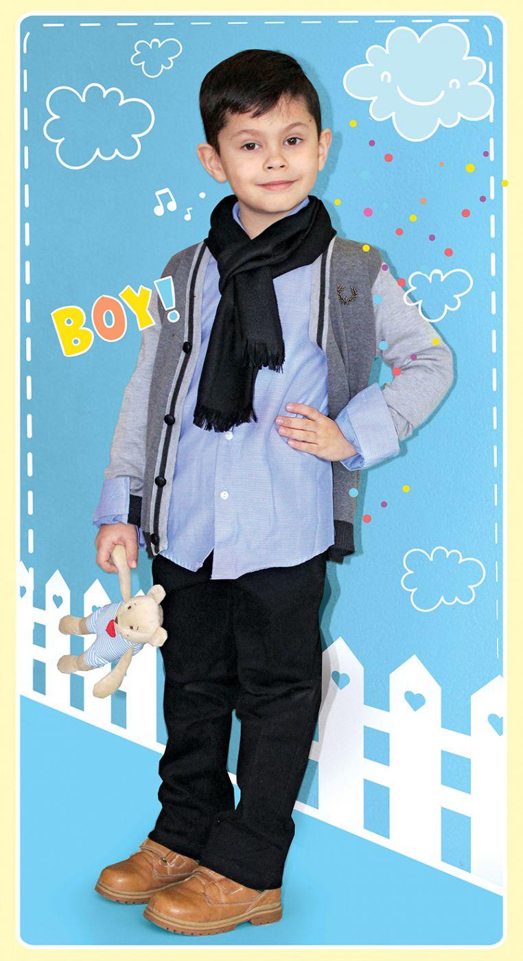 Костюм для мальчика (кардиган+рубашка+шарф+джинсы+ремешок)