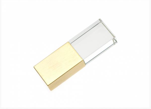 8GB USB-флэш накопитель Apexto UG-003 стеклянный, зеленый LED, золотой колпачек