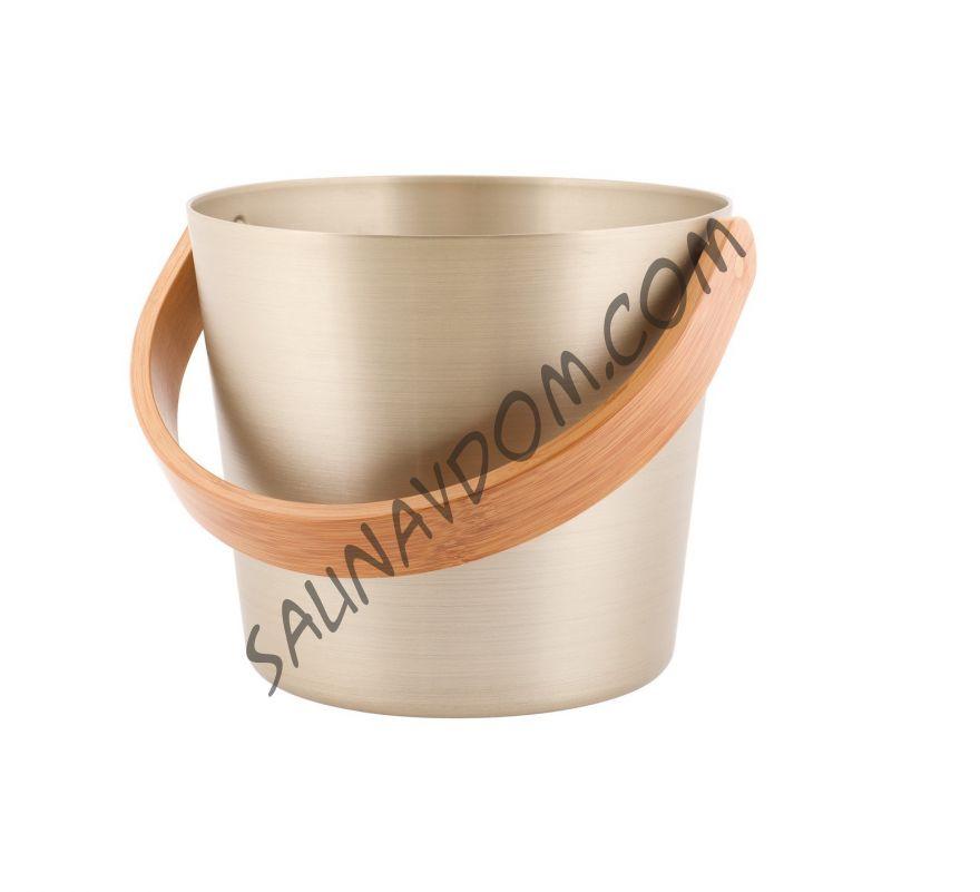 Ведро алюминиевое с гнутой бамбуковой ручкой Rento, шампань
