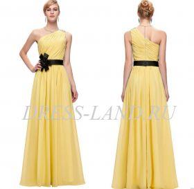 Желтое вечернее платье с цветком