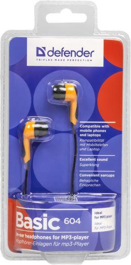 Наушники вакуумные - гарнитура Defender Basic 604 черный + оранжевый