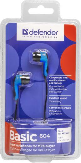 Наушники вакуумные - гарнитура Defender Basic 604 черный + голубой