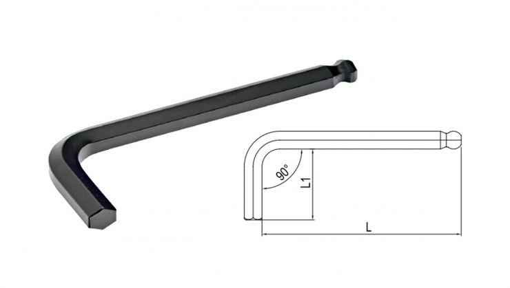 Ключ 6-гранный Г-образный с окр. наконечником 2мм