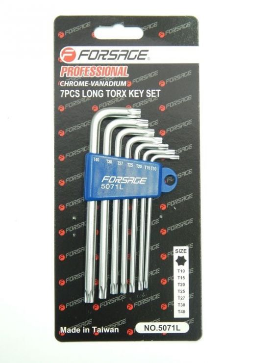Набор ключей торкс Г-образных длинных 7пр. (Т10,Т15,Т20,Т25,Т27,Т30,Т40) в пластиковом держателе