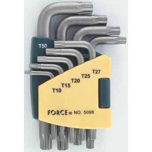 Набор ключей торкс Г-образных длинных 9пр. (Т10, Т15, Т20, Т25, Т27, Т30, Т40, Т45, Т50)в пластиковом держателе