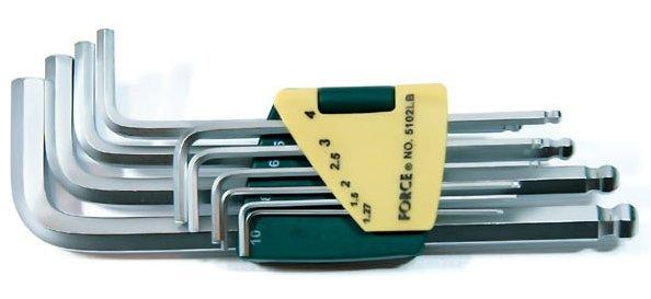 Набор ключей 6-гранных Г-образных длинных с шаром 10пр. (1.27, 1.5, 2, 2.5, 3-6, 8, 10мм)в пластиковом держателе