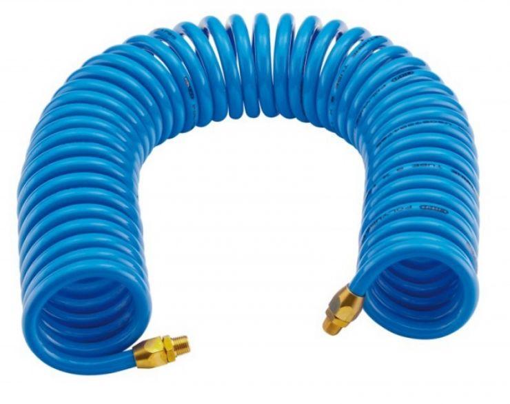 Шланг витой полиуретановый 6.5 х 10мм х 5м с резьбовыми наконечниками 1/4'(для воздуха)