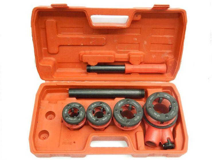 Клупп трубный со сменными плашками для нарезания наружной резьбы на трубах 5пр. (1/2', 3/4', 1', 1-1/4') в кейсе