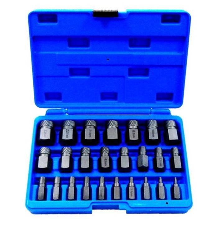 Набор бит-экстракторов для извлечения поврежденных болтов 25пр.  (M3.5-M4-M5.5,M6.5-M7.5-M11.5,M12-M14.5,M15.5-M18.5,M19.5-M23)