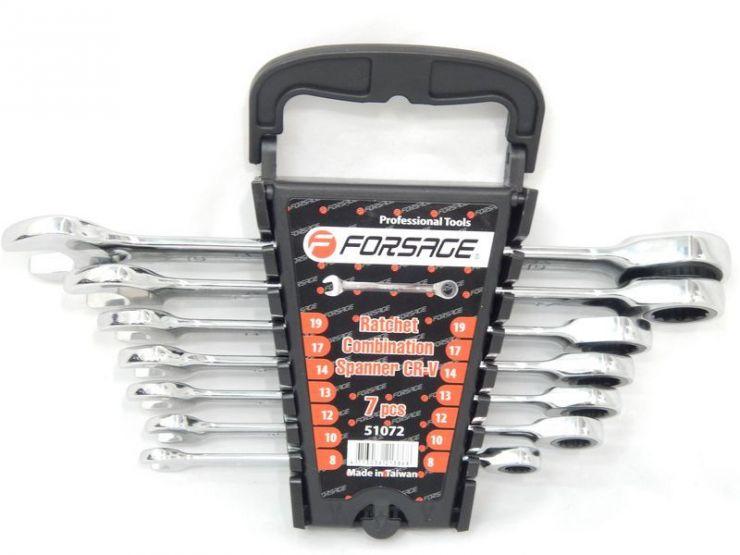 Набор ключей комбинированных трещоточных 7пр. (8,10,12,13,14,17,19мм)в пластиковом держателе