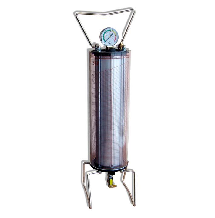 Зарядная колба, вместимость 4 кг  с мерной шкалой для хладагентов R-134a, R-507, 404a. Верхняя часть колбы оснащена манометром для контроля давления от 0 до 25 бар, предохранительным клапаном, срабатывающим при превышении допустимого давления , ручкой для