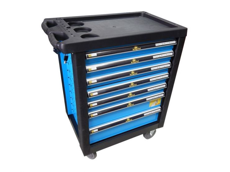 Тележка инструментальная 7-ми полочная (синяя) с пластиковой защитой корпуса + перфорация