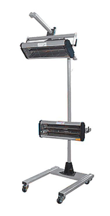 Инфракрасная сушильная установка. Сборная металлическая стойка, с дополнительной верхней горизонтальной перекладиной; механический  таймер.  Две раздельные кассеты с лампами. Мощность: 2 лампы х 1000 Вт., 230 В. Площадь нагрева 800мм х 800мм.