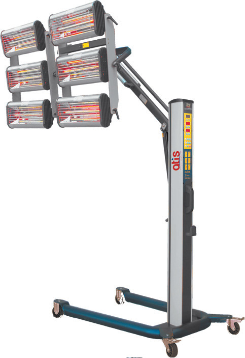 Инфракрасная сушильная установка. Стойка с пневмоцилиндром, две кассеты с тремя  рядами горизонтально расположенных ламп;  электронное программирование времени и мощности предварительной и основной сушки; возможность изменения площади, а также скорости су