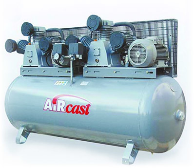 компрессор поршневой 1900 л/мин, 10 бар, 5,5 5,5 кВт. 380 В, ресивер 500 л., тандем с пультом