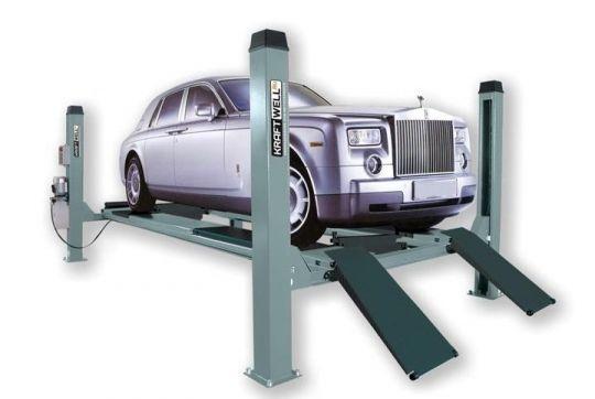 Подъемник четырехстоечный, электрогидравлический, г/п 4500 кг., 2,2 кВт, высота подъема 1700 мм., размеры платформ 4860х490 мм, платформы - гладкие.