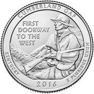 32 парк Национальный исторический парк Камберленд-Гэп. Монета 25 центов. 2016 год, США.