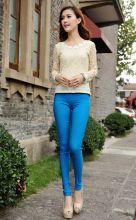Летние брюки женские леггинсы стрейтч голубые