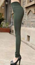 Летние брюки женские леггинсы стрейтч темно зеленые