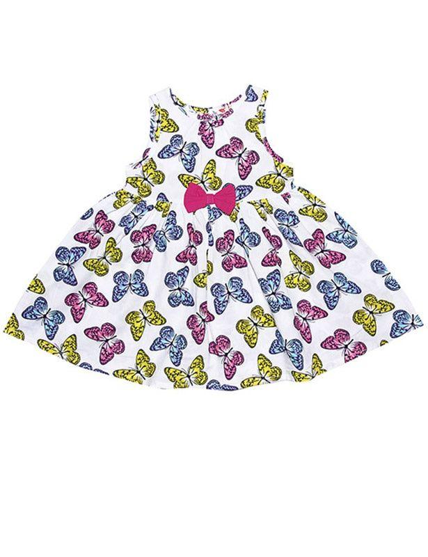 Белое платье с яркими бабочками