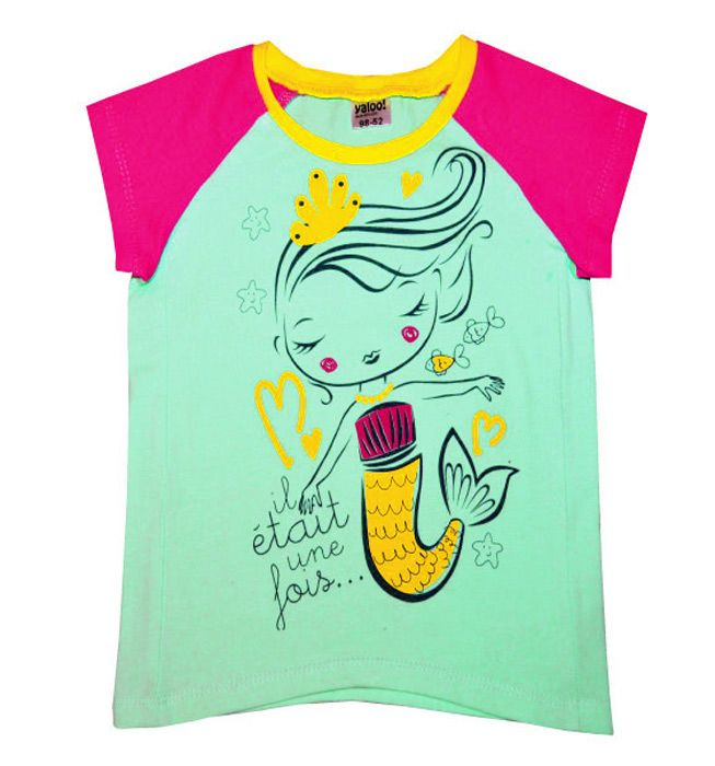 Бирюзово-розовая футболка Русалочка