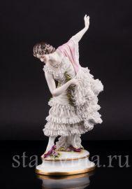 Танцовщица с розовой шалью, кружевная, Volkstedt, Германия, до 1935 г
