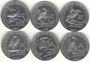 Набор 5 франков 2014 Бурунди, Птицы, 6 монет
