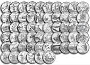Набор монет 25 центов из роллов: Штаты 50 шт. + Территории 6 шт.